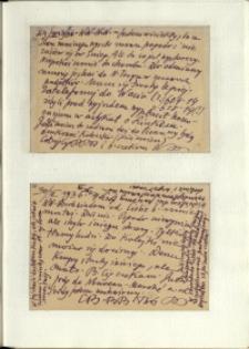 Listy Stanisława Ignacego Witkiewicza do żony Jadwigi z Unrugów Witkiewiczowej. Kartka pocztowa z 29.03.1936. Kartka pocztowa z 30.03.1936.