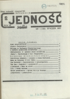 Jedność : Organ Międzyzakładowego Komitetu Strajkowego przy Stoczni im. Adolfa Warskiego. 1987 nr 1