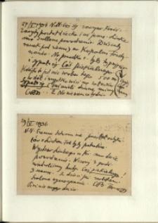 Listy Stanisława Ignacego Witkiewicza do żony Jadwigi z Unrugów Witkiewiczowej. Kartka pocztowa z 27.05.1936. Kartka pocztowa z 29.05.1936.