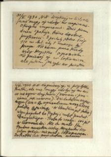 Listy Stanisława Ignacego Witkiewicza do żony Jadwigi z Unrugów Witkiewiczowej. Kartka pocztowa z 31.05.1936. Kartka pocztowa z 02.06.1936.