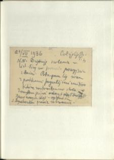 Listy Stanisława Ignacego Witkiewicza do żony Jadwigi z Unrugów Witkiewiczowej. Kartka pocztowa z 24.07.1936.