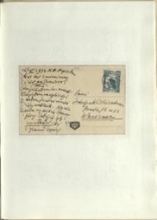Listy Stanisława Ignacego Witkiewicza do żony Jadwigi z Unrugów Witkiewiczowej. Kartka pocztowa z 15.10.1936.