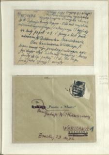 Listy Stanisława Ignacego Witkiewicza do żony Jadwigi z Unrugów Witkiewiczowej. Kartka pocztowa z 09.11.1936. Koperta do listu z 12.02.1936.