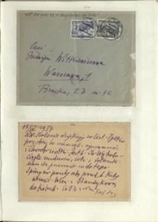 Listy Stanisława Ignacego Witkiewicza do żony Jadwigi z Unrugów Witkiewiczowej. Koperta do listu z 12.04.1937. Kartka pocztowa z 15.04.1937.