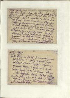 Listy Stanisława Ignacego Witkiewicza do żony Jadwigi z Unrugów Witkiewiczowej. Kartka pocztowa z 17.04.1937. Kartka pocztowa z 21.04.1937.