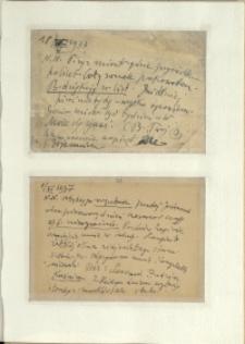 Listy Stanisława Ignacego Witkiewicza do żony Jadwigi z Unrugów Witkiewiczowej. Karta pocztowa z 18.05.1937. Karta pocztowa z 01.06.1937.