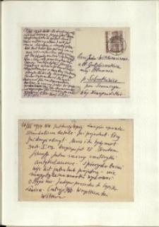 Listy Stanisława Ignacego Witkiewicza do żony Jadwigi z Unrugów Witkiewiczowej. Kartka pocztowa z 14.07.1937. Kartka pocztowa z 16.07.1937.