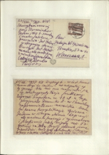 Listy Stanisława Ignacego Witkiewicza do żony Jadwigi z Unrugów Witkiewiczowej. Kartka pocztowa z 23.08.1937. Kartka pocztowa z 25.08.1937.