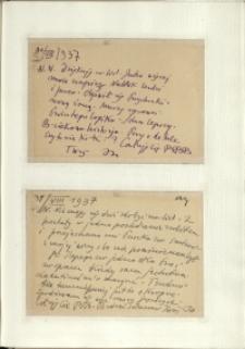 Listy Stanisława Ignacego Witkiewicza do żony Jadwigi z Unrugów Witkiewiczowej. Kartka pocztowa z 30.08.1937. Kartka pocztowa z 31.08.1937.