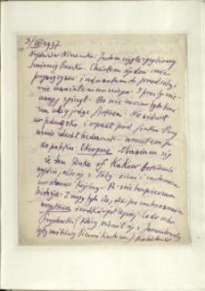 Listy Stanisława Ignacego Witkiewicza do żony Jadwigi z Unrugów Witkiewiczowej. List z 03.09.1937.