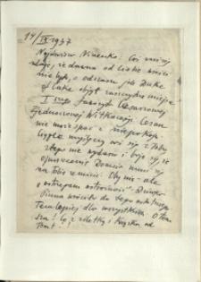 Listy Stanisława Ignacego Witkiewicza do żony Jadwigi z Unrugów Witkiewiczowej. List z 14.09.1937.