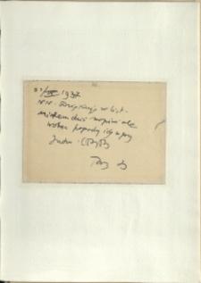 Listy Stanisława Ignacego Witkiewicza do żony Jadwigi z Unrugów Witkiewiczowej. Kartka pocztowa z 22.09.1937.