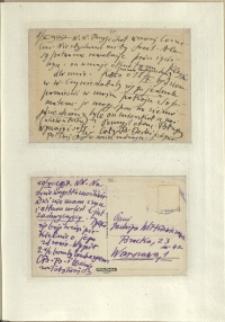 Listy Stanisława Ignacego Witkiewicza do żony Jadwigi z Unrugów Witkiewiczowej. Kartka pocztowa z 08.10.1937. Kartka pocztowa z 10.10.1937.