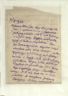 Listy Stanisława Ignacego Witkiewicza do żony Jadwigi z Unrugów Witkiewiczowej. List z 09.02.1938.