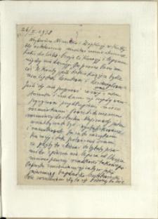 Listy Stanisława Ignacego Witkiewicza do żony Jadwigi z Unrugów Witkiewiczowej. List z 26.02.1938.