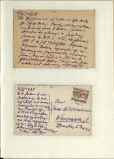 Listy Stanisława Ignacego Witkiewicza do żony Jadwigi z Unrugów Witkiewiczowej. Kartka pocztowa z 01.04.1938. Kartka pocztowa z 02.04.1938.