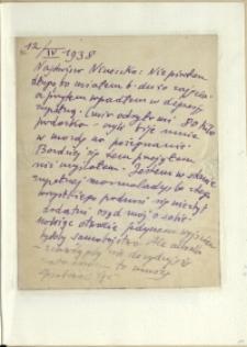 Listy Stanisława Ignacego Witkiewicza do żony Jadwigi z Unrugów Witkiewiczowej. List z 12.04.1938.