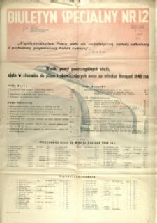 [Afisz] Biuletyn Specjalny Nr 12 : wyniki pracy poszczególnych służb, ujęta w stosunku do planu i obowiązujących norm za miesiąc listopad 1949 rok