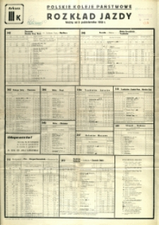 [Afisz] Rozkład Jazdy : ważny od 8 października 1950 r.: arkusz III K