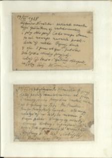 Listy Stanisława Ignacego Witkiewicza do żony Jadwigi z Unrugów Witkiewiczowej. Kartka pocztowa z 19.06.1938. Kartka pocztowa z 21.06.1938.