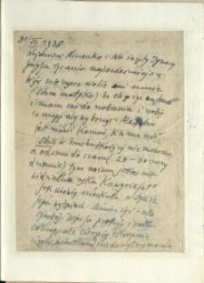 Listy Stanisława Ignacego Witkiewicza do żony Jadwigi z Unrugów Witkiewiczowej. List z 31.07.1938.