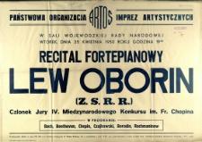 [Afisz] Recital fortepianowy Lew Oborin