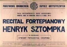 [Afisz] Recitatepianowy Henryk Sztompka