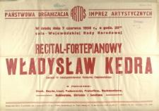 [Afisz] Recital fortepianowy Władysław Kędra