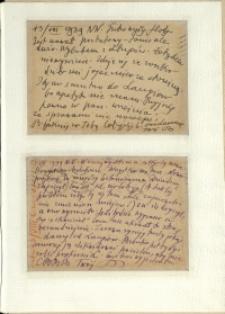 Listy Stanisława Ignacego Witkiewicza do żony Jadwigi z Unrugów Witkiewiczowej. Kartka pocztowa z 13.08.1939. Kartka pocztowa z 15.08.1939.
