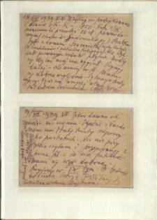 Listy Stanisława Ignacego Witkiewicza do żony Jadwigi z Unrugów Witkiewiczowej. Kartka pocztowa z 18.08.1939. Kartka pocztowa z 19.08.1939.