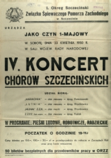 [Afisz] IV. Koncert Chórów Szczecińskich