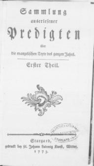 Sammlung auserlesener Predigten über die evangelischen Texte des ganzen Jahrs. T.1