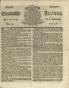 Königlich privilegirte Stettinische Zeitung. 1787 No. 5 + Beylage