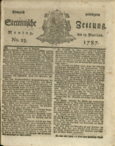 Königlich privilegirte Stettinische Zeitung. 1787 No. 23