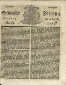 Königlich privilegirte Stettinische Zeitung. 1787 No. 63