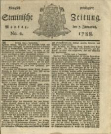 Königlich privilegirte Stettinische Zeitung. 1788 No. 2 + Beylage