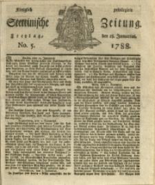 Königlich privilegirte Stettinische Zeitung. 1788 No. 5 + Beylage