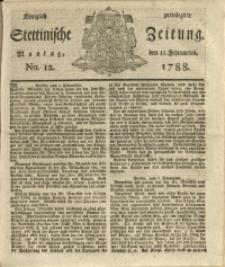 Königlich privilegirte Stettinische Zeitung. 1788 No. 12 + Beylage