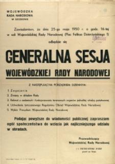 [Afisz] Generalna Sesja Wojewódzkiej Rady Narodowej