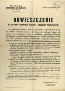 [Afisz] Obwieszczenie w sprawie rejestracji maszyn i urządzeń technicznych
