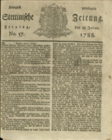 Königlich privilegirte Stettinische Zeitung. 1788 No. 57 + Beylage