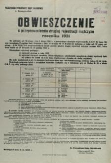 [Afisz] Obwieszczenie o przeprowadzeniu drugiej rejestracji mężczyzn rocznika 1931