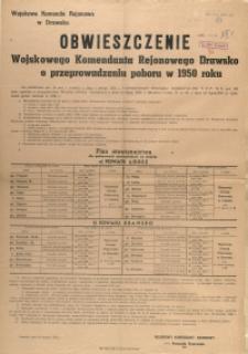 [Afisz] Obwieszczenie Wojskowego Komendanta Rejonowego Drawsko o przeprowadzeniu poboru w 1950 roku