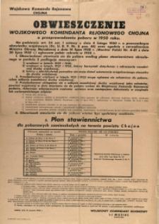 [Afisz] Obwieszczenie Wojskowego Komendanta Rejonowego Chojna o przeprowadzeniu poboru w 1950 roku