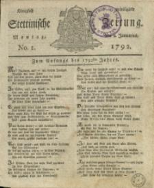 Königlich privilegirte Stettinische Zeitung. 1792 No. 1