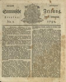 Königlich privilegirte Stettinische Zeitung. 1792 No. 2 + Beylage