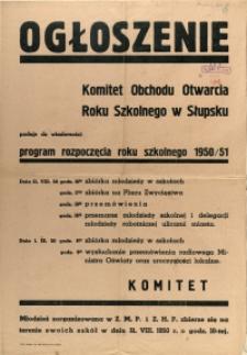 [Afisz] Ogłoszenie : [program rozpoczęcia roku szkolnego 1950/51]