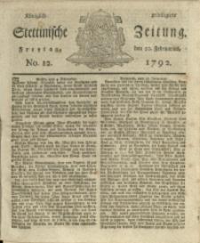 Königlich privilegirte Stettinische Zeitung. 1792 No. 12 + Beylage