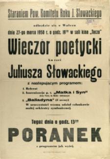 [Afisz] Wieczór poetycki ku czci Juliusza Słowackiego