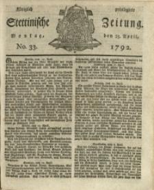 Königlich privilegirte Stettinische Zeitung. 1792 No. 33 + Beylage